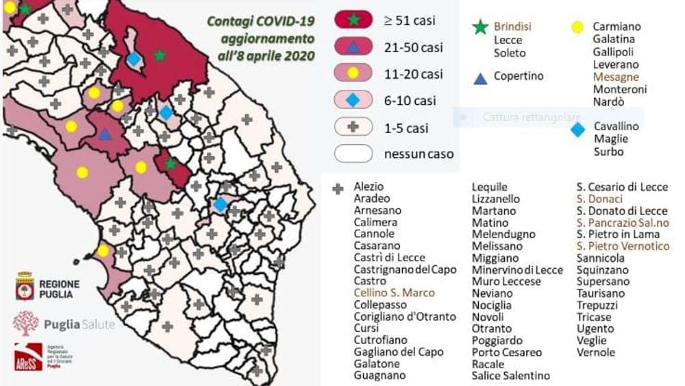 Mappa Puglia Ugento.La Mappa Del Contagio Da Unisalento E Asl La Foto Dei Casi Per Comune